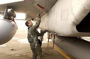 Walk-around - Pre-flight inspection of an F-15 Eagle.