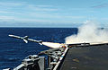 US Navy 040710-N-6213R-002 USS John C. Stennis (CVN 74) launches the first of two RIM-7 Nato Sea Sparrow surface-to-air missiles during a training exercise in the Hawaiian operating area.jpg