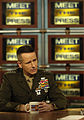US Navy 060305-F-0193C-011 Chairman of the Joint Chiefs of Staff, U.S. Marine Corps, Gen. Peter Pace, responds to a question asked by host Tim Russert during an interview on NBC's Meet the Press.jpg