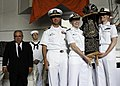 US Navy 070624-N-0336C-037 Left to right, Mark E. Talisman, Machinist's Mate 3rd Class Jesse Kopelman, Commanding Officer Capt. Herman A. Shelanski, Lt. Elizabeth Steffen and Lt. Julia Weber, members of the Jewish congregation.jpg