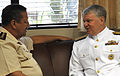 US Navy 090406-N-8273J-031 Chief of Naval Operations (CNO) Adm. Gary Roughead, right, meets with Gen. Janse Van Rensburg, Chief, Corporate Staff at the Defense Headquarters in Pretoria, South Africa.jpg