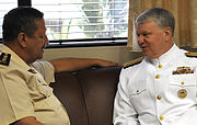 US Navy 090406-N-8273J-031 Chief of Naval Operations (CNO) Adm. Gary Roughead, right, meets with Gen. Janse Van Rensburg, Chief, Corporate Staff at the Defense Headquarters in Pretoria, South Africa