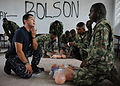 US Navy 110606-N-NY820-130 Hospital Corpsman 2nd Class Antonio Carranza, from Santa Ana, Calif., conducts a subject matter expert exchange on CPR p.jpg