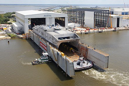 The USNS Spearhead (JHSV-1), another Austal USA-built ship, being prepared for its christening in the BAE Systems Southeast Shipyards floating drydock in September 2011. The Spearhead is the first ship of the Spearhead class Joint High Speed Vessel (JHSV). US Navy 110908-O-ZZ999-003 The Military Sealift Command joint high speed vessel USNS Spearhead (JHSV 1) prepares for its Sept. 17 christening cerem.jpg