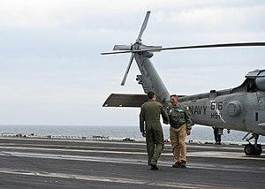US Navy 120121-N-FI736-084 Secretary of Defense (SECDEF) Leon Panetta arrives aboard the aircraft carrier USS Enterprise (CVN 65).jpg