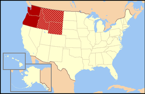 Northwestern United States - The dark red states are almost always included, while the striped states are usually considered part of the Northwestern United States as well.