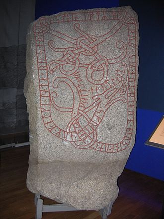 Gotland - Torsätra runestone (U 614) raised in memory of one of the Swedish king's tribute collectors who fell ill and died during a trip to Gotland. Swedish History Museum, Stockholm.