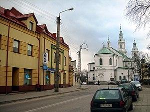 Radomsko - Catholic Church of Saint Lambert of Maastricht (Kościół św Lamberta) in Radomsko, as seen from Przedborska Street