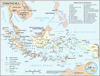 Geography of Indonesia - A map of Indonesia.