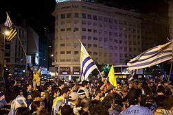 Festejos en la Avenida 9 de Julio deBuenos Aires.