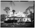 VIEW OF REAR (EAST) SIDE OF CHAPEL. - Knowles Memorial Chapel, 1100 Holt Avenue, Winter Park, Orange County, FL HABS FLA,48-WIPA,1-6.tif