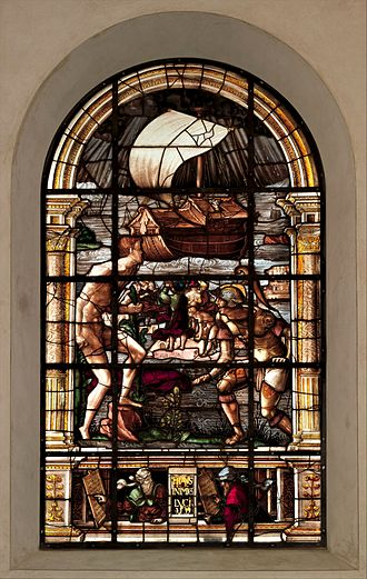 Valentin Bousch - ″The Deluge″ by  Valentin Bousch, 1531. Glass, painted and stained. 11 ft. 10 1/4 in. x 5 ft. 7 in. Metropolitan Museum of Art.