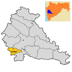 Location of Velhe in Pune district in مهاراشترا