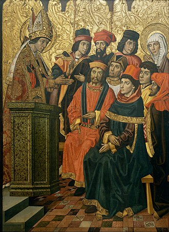 Saint Augustine Altarpiece (Huguet) - Image: Vergós Group Saint Augustine and Saint Monica in a Sermon by Saint Ambrose Google Art Project