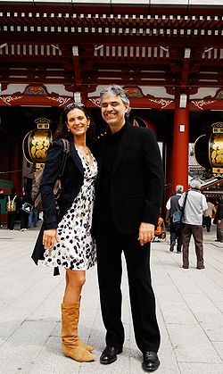 Bocelli with fiancée Veronica Berti in Tokyo, Japan, during his 2008