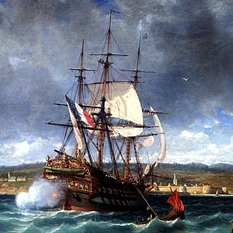 Chase gun - The Vétéran, chased by a British squadron, finds shelter in Concarneau harbour. The smoke cloud at her transom indicates that she is firing her stern chase gun.