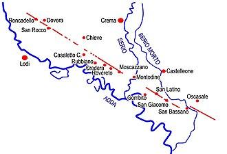 Via Regina - Map of the Via Regina from Roncadello to San Bassano with ancillary paths