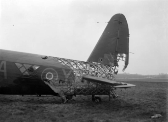 Wellington Mark X showing the geodesic airframe construction and the level of punishment it could withstand while maintaining airworthiness Vickers Wellington Mark X, HE239 'NA-Y', of No. 428 Squadron RCAF (April 1943).png