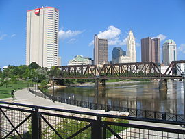 View of Downtown Columbus Ohio OH from North Bank Park Pavillion on Scioto River.jpg