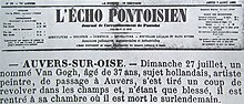 Photograph of a 19th-century newspaper announcement of someone's death