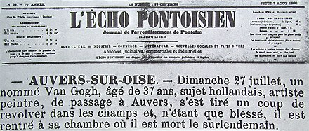 Article on Van Gogh's death from L'Écho Pontoisien, 7 August 1890