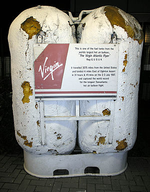 City of Derry Airport - Fuel Tanks currently displayed at the airport from the Virgin Atlantic Flyer, the transatlantic hot air balloon, which landed four miles away in 1987