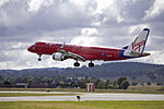 Virgin Blue (VH-ZPF) Embraer ERJ-190AR on approach to Canberra Airport (2).jpg