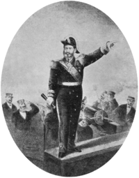 Engraving depicting a man in an admiral's uniform, spyglass in hand and left hand pointing forward, standing on a plaform aboard a ship while sailors fire cannons in the background