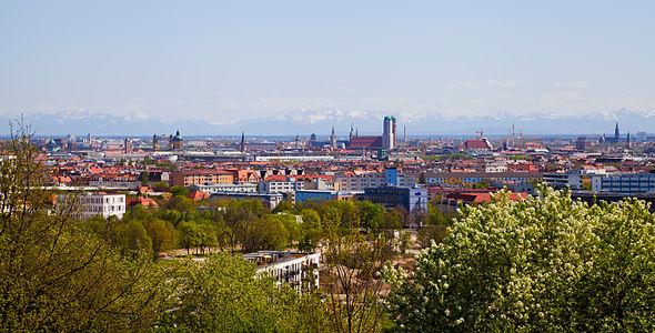 View of the City of Munich with the Alps in the Background from the Olympic Park of Munich