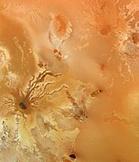 View of lava flows radiating from the volcano Ra Patera on Io.