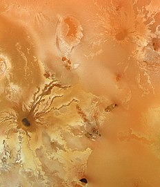 View of lava flows radiating from the volcano Ra Patera on Io