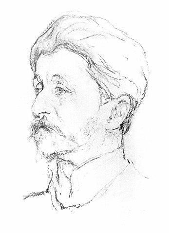 В. Серов. Портрет Врубеля. Начат с натуры в 1906 году в клинике Усольцева, опубликован в 1907 году. Государственная Третьяковская галерея