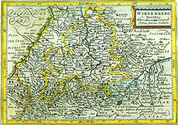 Topographical single sheet map of the duchy Württemberg in southern Germany from circa 1619 AD