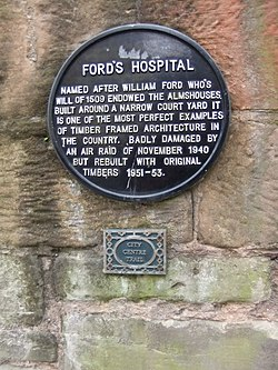 Photo of Ford's Hospital and William Ford  black plaque