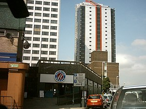 Merrion Centre, Leeds - The Wade Lane side of the Merrion Centre, showing the Merrion Superstore