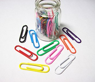 Paper clip - A few paper clips of different colors.