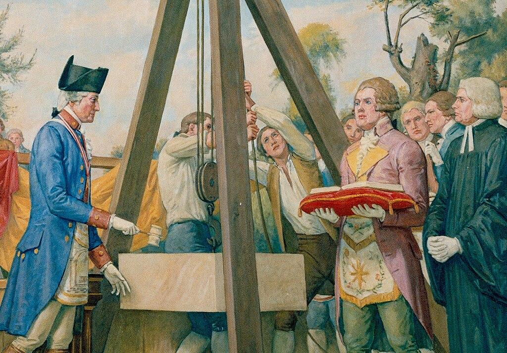 George Washington laying the cornerstone