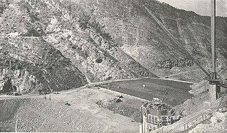 Watauga Dam - Construction work at the Watauga Dam site, circa 1940s