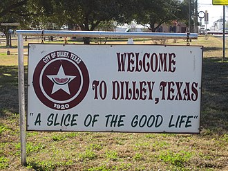 Dilley, Texas - Welcoming sign in Dilley, Texas