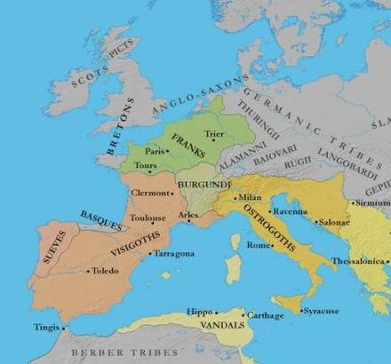 Germanic Kingdoms in Europe c. 500 AD West Germanic Kingdoms 460.jpg