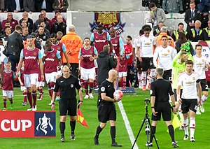 2016 FA Cup Final - The players of West Ham United and Manchester United entering the field for their FA Cup replay
