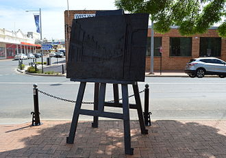 West Wyalong (Drysdale) - A 2014 Gillie and Marc sculpture commemorating Drysdale and this painting. It stands in front of the Tattersalls Hotel