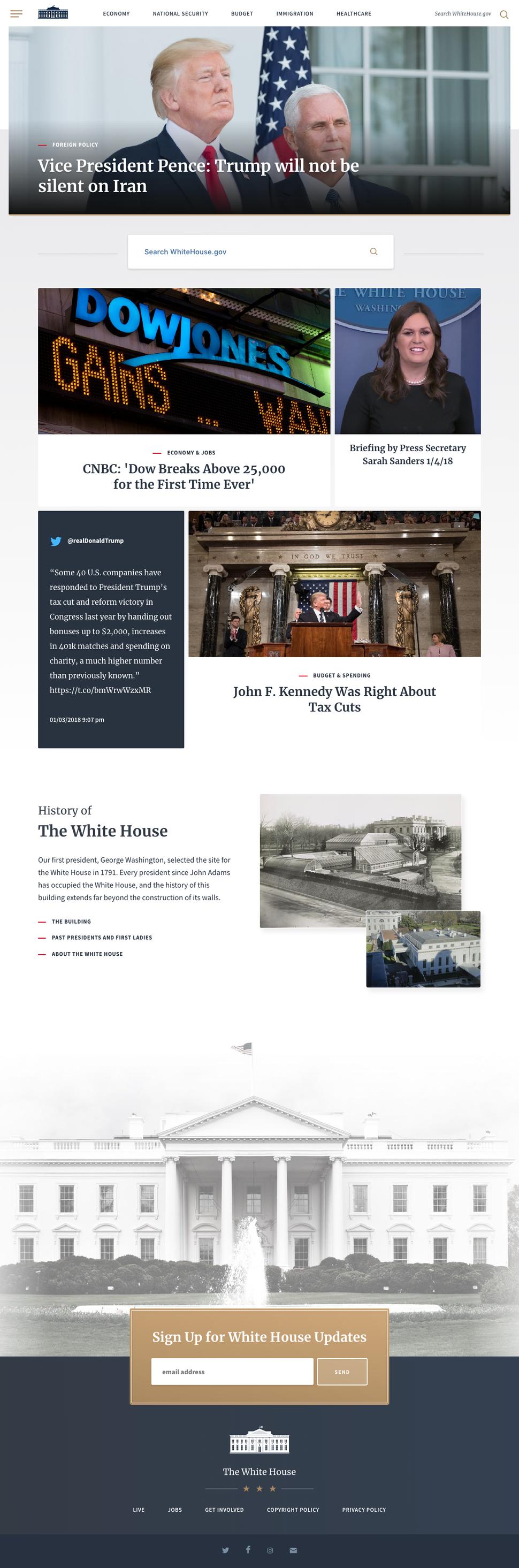 Whitehouse.gov January 2018