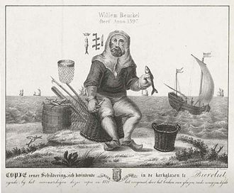 William Buckels - 1821 lithograph copy by Hilmar Johannes Backer of a stained glass church window in Biervliet depicting Buckels at his pastime