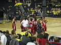 Wisconsin vs. Michigan women's basketball 2013 42 (Wisconsin huddle).jpg