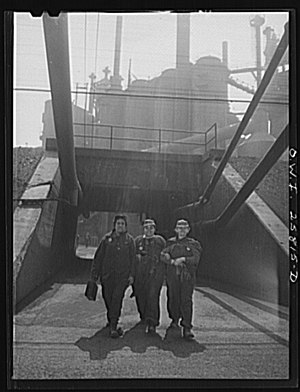 Republic Steel - Female workers leave the Republic Steel plant in Buffalo, New York in 1943.