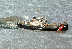 USCGC Woodrush (WLB-407) - Image: Woodrush cutting ice