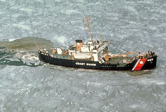 USCGC Woodrush (WLB-407) - Image: Woodrush cutting ice