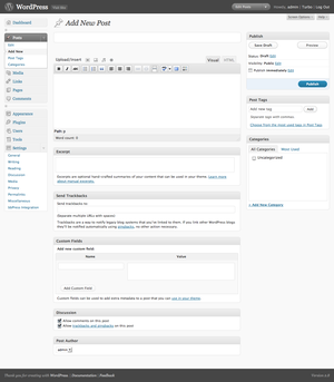 English: A screenshot of the WordPress admin i...