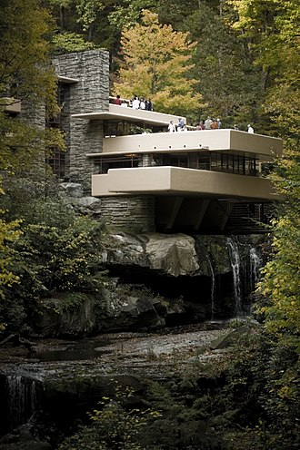 Modernism - Frank Lloyd Wright, Fallingwater, Mill Run, Pennsylvania (1937). Fallingwater was one of Wright's most famous private residences (completed 1937).
